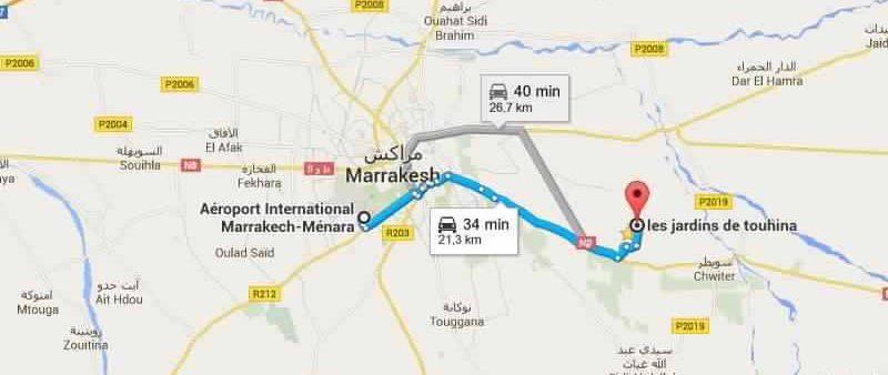 Adresse et directions jardins de touhina marrakech