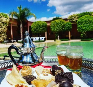 Tea by the swimming pool in Marrakesh